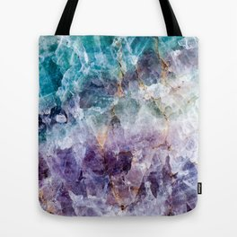 Turquoise & Purple Quartz Crystal Tote Bag