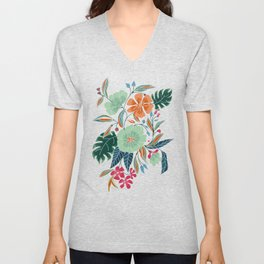 Minty + Rust Floral Unisex V-Neck