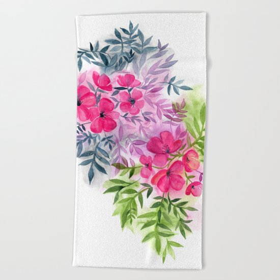 Dual Bouquets - a watercolor floral Beach Towel