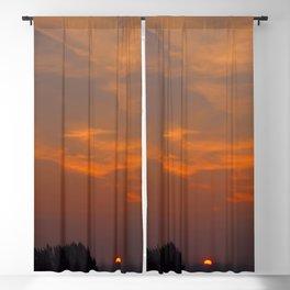Red Rising Sun Blackout Curtain