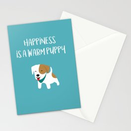 Happiness is a warm puppy Stationery Cards