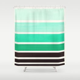 Light Teal Turquoise Green Minimalist Watercolor Mid Century Staggered Stripes Rothko Color Block Ge Shower Curtain
