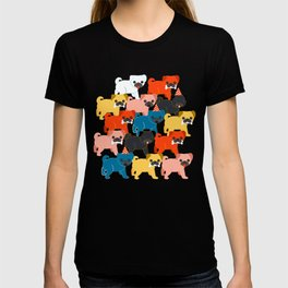 COLORED PUGS PATTERN no2 T-shirt