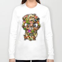 animal skull Long Sleeve T-shirts featuring Floral Flower animal skull kingdom by KomarWork