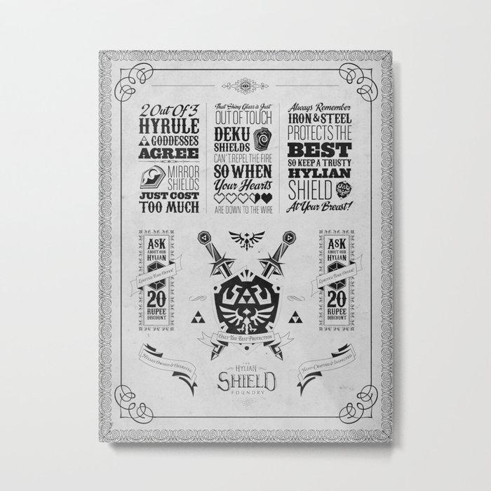 Legend of Zelda - The Hylian Shield Foundry Metal Print