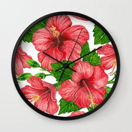 Red hibiscus watercolor pattern Wall Clock