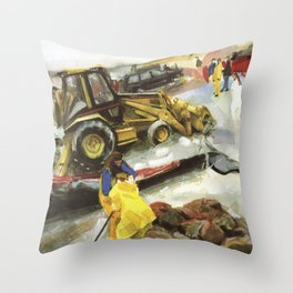 Blue whale on Second Beach, dissection with back-hoe, No. 1 - Middletown Throw Pillow