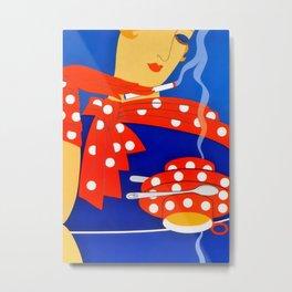"Art Deco Illustration ""Coffee and Cigarettes"" Metal Print"