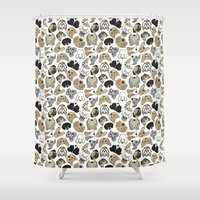 dogs Shower Curtains featuring dogs by AnaAna