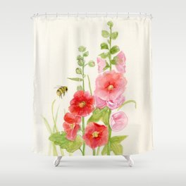 Watercolor Flower Pink Hollyhock and Bee Shower Curtain