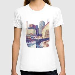 Minneapolis, Minnesota Skyline Stone Arch Bridge T-shirt