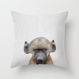 Baby Baboon - Colorful Throw Pillow