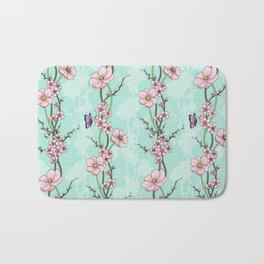 Japanese Garden - cherry blossom and anemones Bath Mat