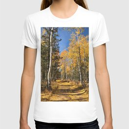 A Fall Drive Among the Aspens by TL Wilson Photography T-shirt
