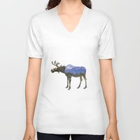 moose V-neck T-shirts featuring MOOSE by James Wetherington