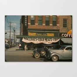 Eagle Fruit Store and Capital Hotel, Lincoln, Nebraska, 1942. Canvas Print