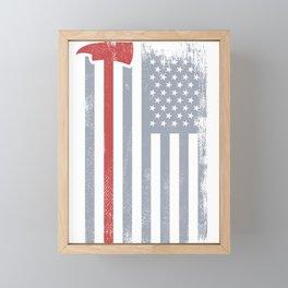 Thin Red Line Redline Gift American Flag Red Axe Firefighter Framed Mini Art Print