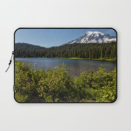 Wildlflower Color by Reflection Lake and Mt Rainier, No. 1 Laptop Sleeve