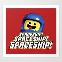 spaceship Art Prints featuring Spaceship! by D-fens