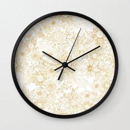 Elegant golden floral doodles design Wall Clock