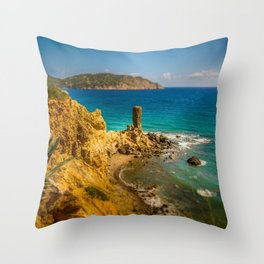 Small but picturesque abandoned beach in Ibiza Throw Pillow