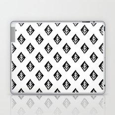 Linocut scandinavian minimal black and white trees camping pattern minimalist art Laptop & iPad Skin