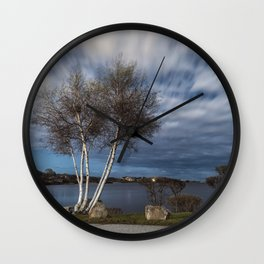 Birch tree by the pond Wall Clock