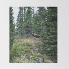 Mr. Moose Way Up North Throw Blanket