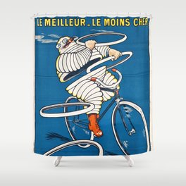 French vintage travel Michelin poster Belorgey Cycles France Shower Curtain