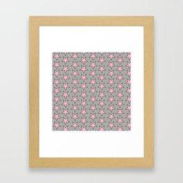 Stars pattern pink on grey Framed Art Print