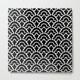 Fan Pattern Black and White 116 Metal Print