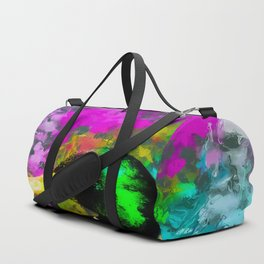 mallard duck with pink blue green yellow painting abstract background Duffle Bag