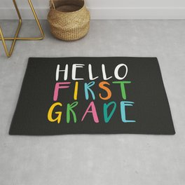 Back to School Hello First Grade Rug