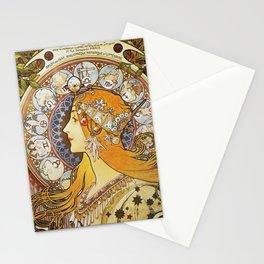 Alphonse Mucha - La Plume / Zodiac (1896) Stationery Cards