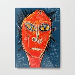 Red Skin Face Street Art Graffiti Metal Print