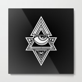 The All Seeing Eye Roll - White Night Metal Print