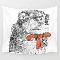 bow Wall Tapestries featuring red bow by Mary Szulc