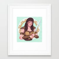xena Framed Art Prints featuring xena warrior princess by Charlotte Foley