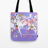 three of the possessed Tote Bags featuring ONLY POSSESSED GIRLS DIDDLE by Kira Leigh