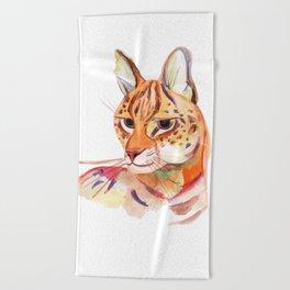 Serval wild cat watercolor Beach Towel