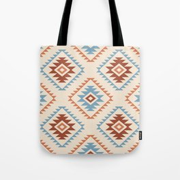Aztec Style Motif Pattern Blue Cream Terracottas Tote Bag