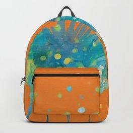 dp066-1 orange blue watercolor flowers Backpack
