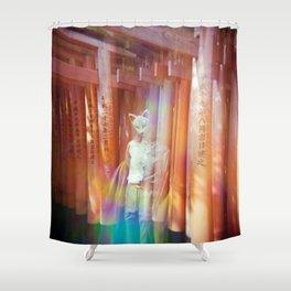 Kitsune Japanese double exposure at the Fushimi Inari Shrine Shower Curtain