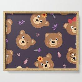Bears & Mushrooms Pattern Serving Tray