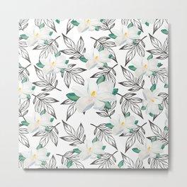 Elegant black white watercolor magnolia blossom floral Metal Print