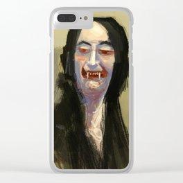 Smug aristocrat close up halloween vampire caricature digital illustration painting Clear iPhone Case