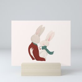 Couple of rabbits in love Mini Art Print