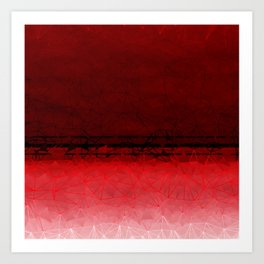 Deep Ruby Red Ombre with Geometrical Patterns Art Print
