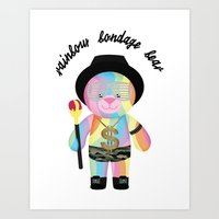 Royal Hippie Rainbow Bondage Bear Full 2.0 Art Print
