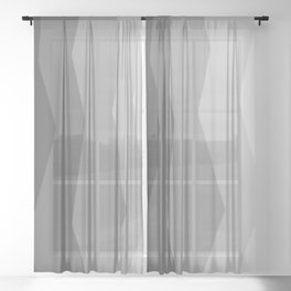 Cool Geometric Charcoal to Light Grey Ombre Sheer Curtain